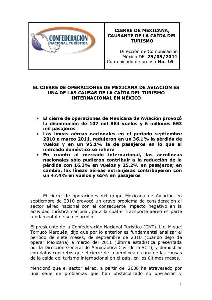 Comunicado 16  cierre de mexicana causa caída del turismo