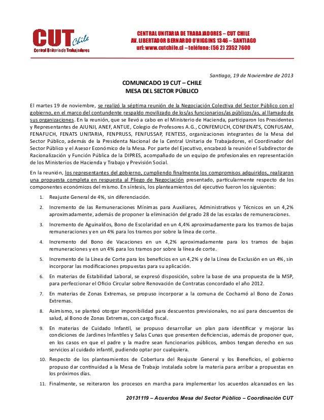 CENTRAL UNITARIA DE TRABAJADORES – CUT CHILE AV. LIBERTADOR BERNARDO O'HIGGINS 1346 – SANTIAGO url: www.cutchile.cl – telé...