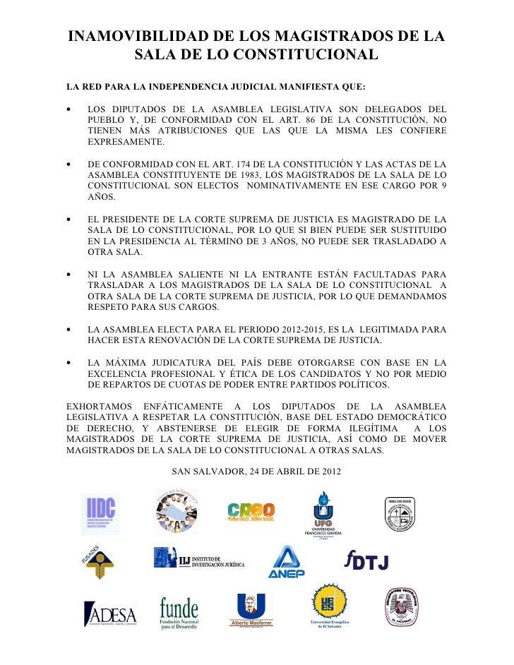 Comunicado de la Red por la Independencia Judicial: Inamovilidad de los magistrados de la Sala de lo Constitucional