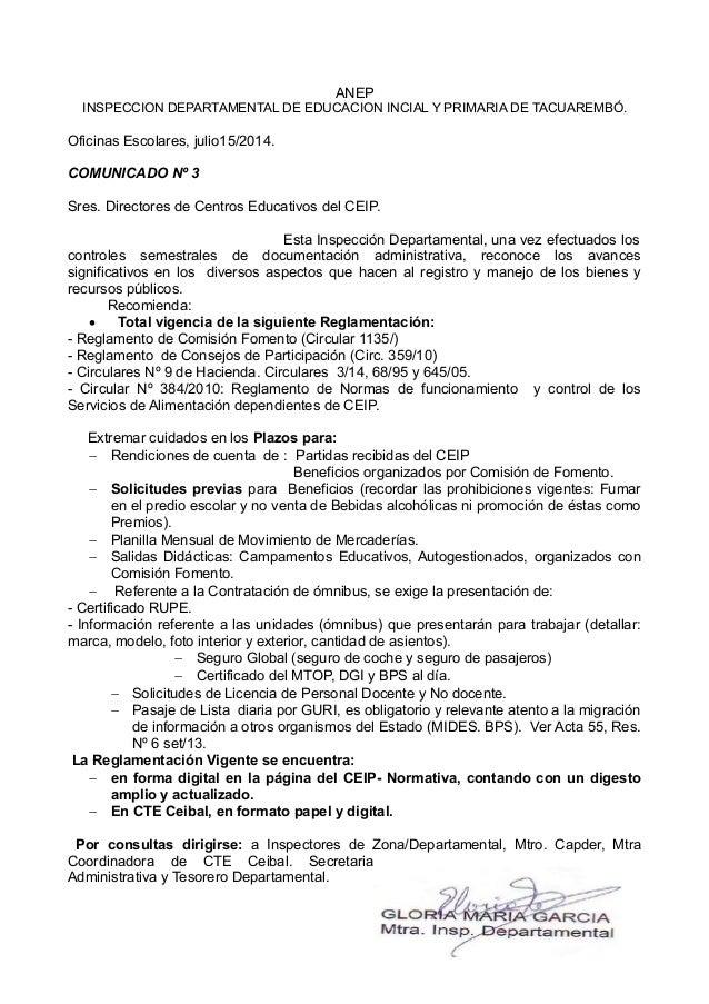 ANEP INSPECCION DEPARTAMENTAL DE EDUCACION INCIAL Y PRIMARIA DE TACUAREMBÓ. Oficinas Escolares, julio15/2014. COMUNICADO N...