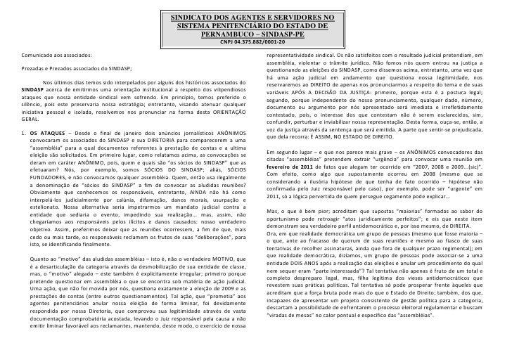 SINDICATO DOS AGENTES E SERVIDORES NO                                                             SISTEMA PENITENCIÁRIO DO...
