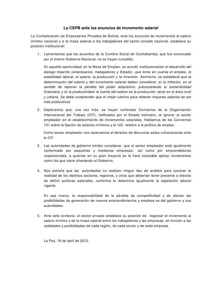 La CEPB ante los anuncios de incremento salarialLa Confederación de Empresarios Privados de Bolivia, ante los anuncios de ...