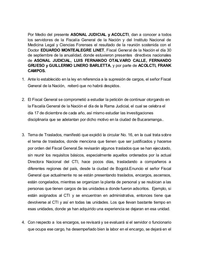 Por Medio del presente ASONAL JUDICIAL y ACOLCTI, dan a conocer a todos los servidores de la Fiscalía General de la Nación...
