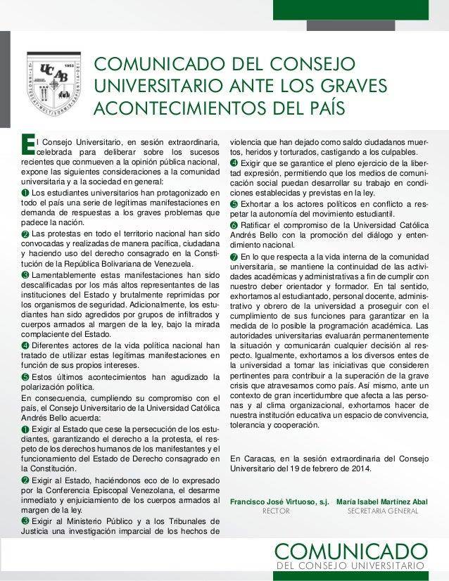 COMUNICADO DEL CONSEJO UNIVERSITARIO ANTE LOS GRAVES ACONTECIMIENTOS DEL PAÍS  E  l Consejo Universitario, en sesión extra...