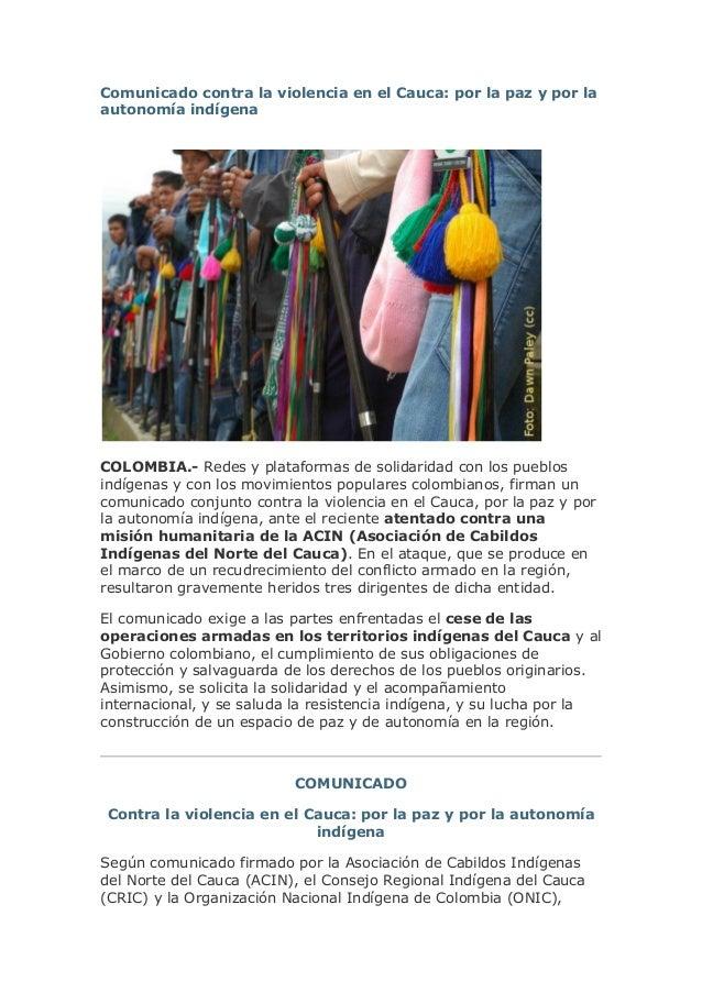 Comunicado contra la violencia en el Cauca: por la paz y por la autonomía indígena  COLOMBIA.- Redes y plataformas de soli...