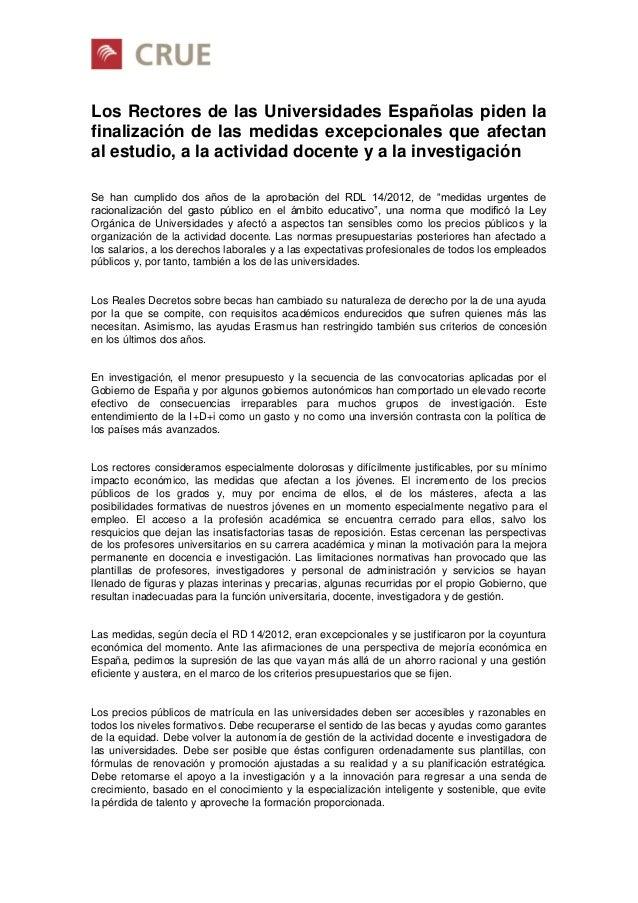 Comunicado CRUE 30 Abr 2014 medidas excepcionales