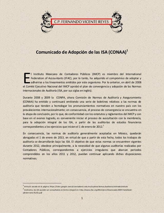 1Comunicado de Adopción de las ISA (CONAA)1l Instituto Mexicano de Contadores Públicos (IMCP) es miembro del International...