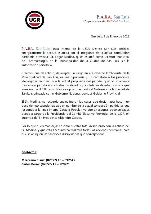 P.A.RA. San Luis                                               (Propuesta Alternativa RADICAL San Luis)                   ...
