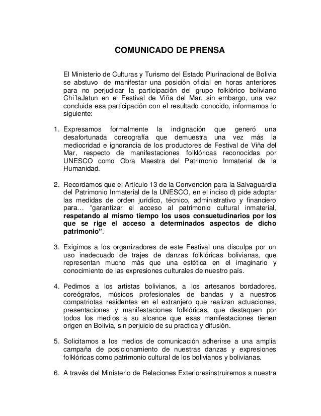 COMUNICADO DE PRENSA El Ministerio de Culturas y Turismo del Estado Plurinacional de Bolivia se abstuvo de manifestar una ...