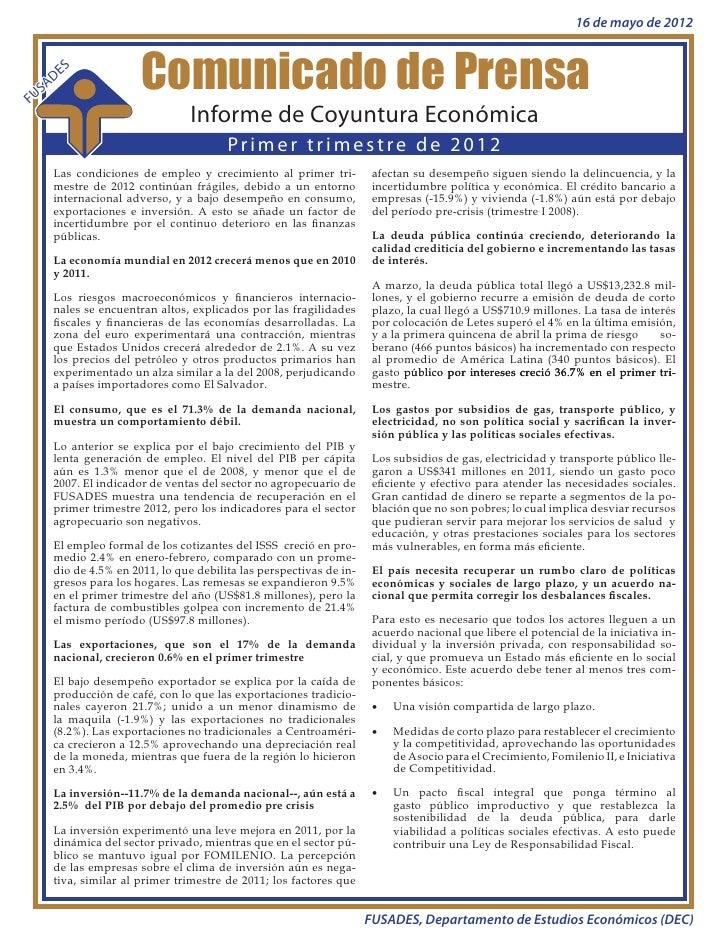 Comunicado de prensa: Informe de Coyuntura Económica I trimestre de 2012