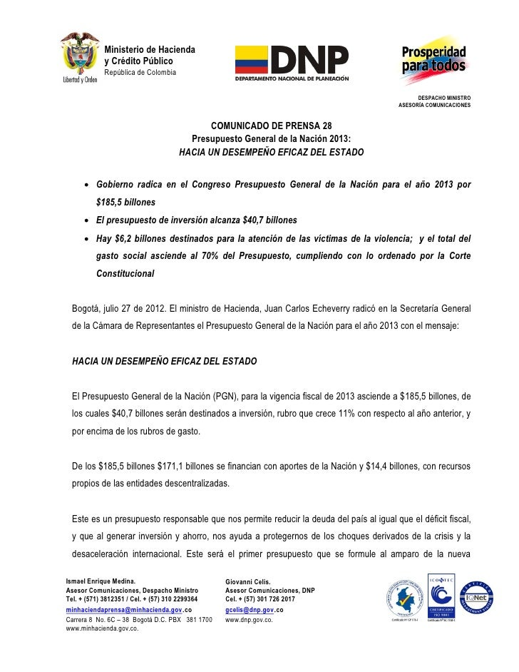Ministerio de Hacienda            y Crédito Público            República de Colombia                                      ...