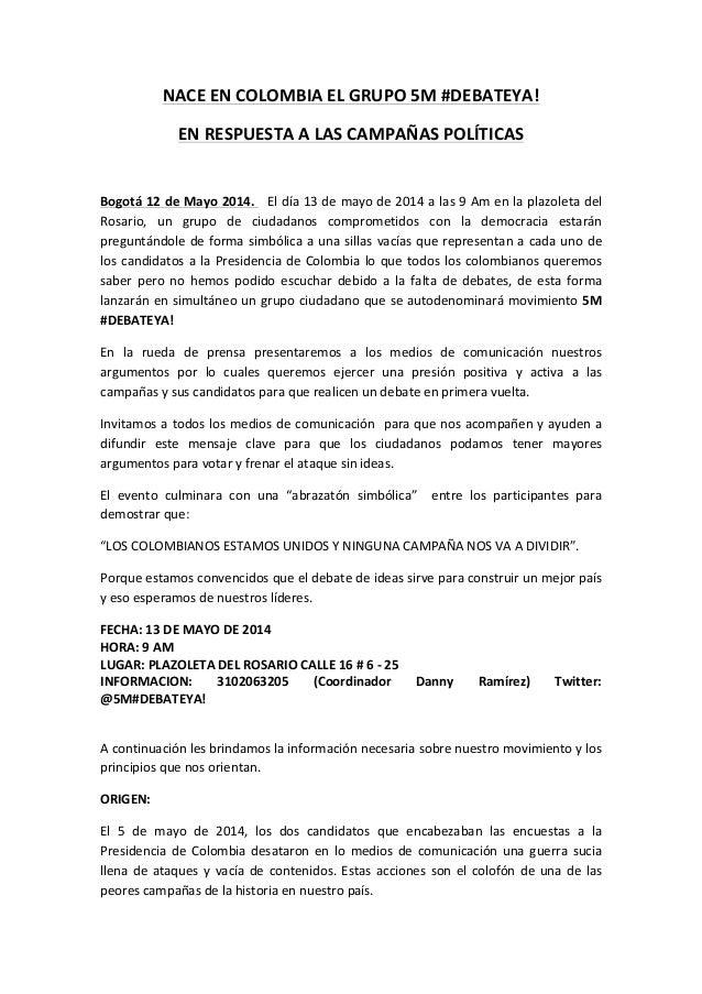 NACE  EN  COLOMBIA  EL  GRUPO  5M  #DEBATEYA!     EN  RESPUESTA  A  LAS  CAMPAÑAS  POLÍTICAS  ...