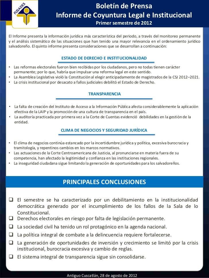 Comunicado de prensa: Informe de Coyuntura Legal e Institucional Primer semestre de 2012
