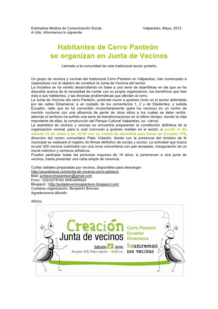 Comunicado de prensa creacion junta de vecinos cerro panteon