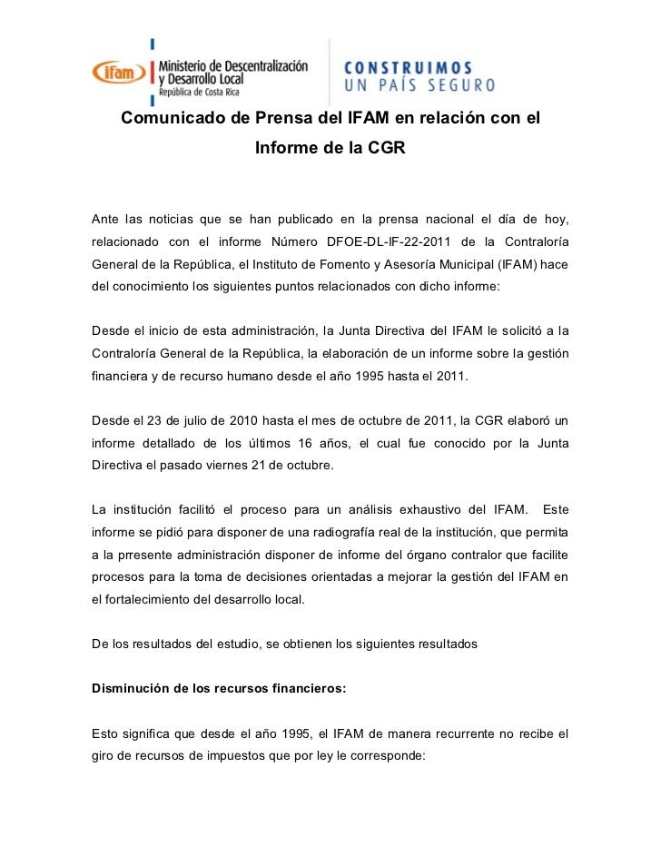 Comunicado de prensa del ifam en relación con el informe de la CGR