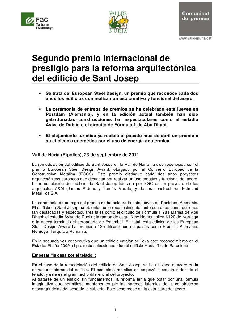 Segundo premio internacional deprestigio para la reforma arquitectónicadel edificio de Sant Josep   •   Se trata del Europ...