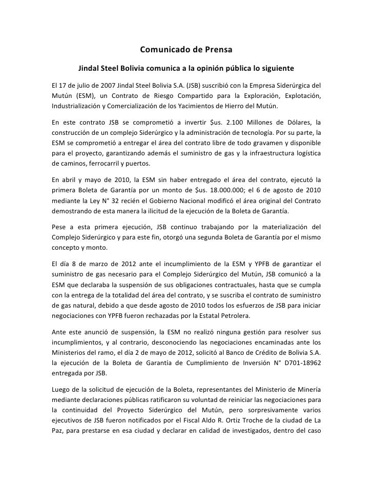 Comunicado de Prensa         Jindal Steel Bolivia comunica a la opinión pública lo siguienteEl 17 de julio de 2007 Jindal ...