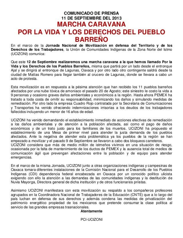 COMUNICADO DE PRENSA 11 DE SEPTIEMBRE DEL 2013 MARCHA CARAVANA POR LA VIDA Y LOS DERECHOS DEL PUEBLO BARREÑO En el marco d...