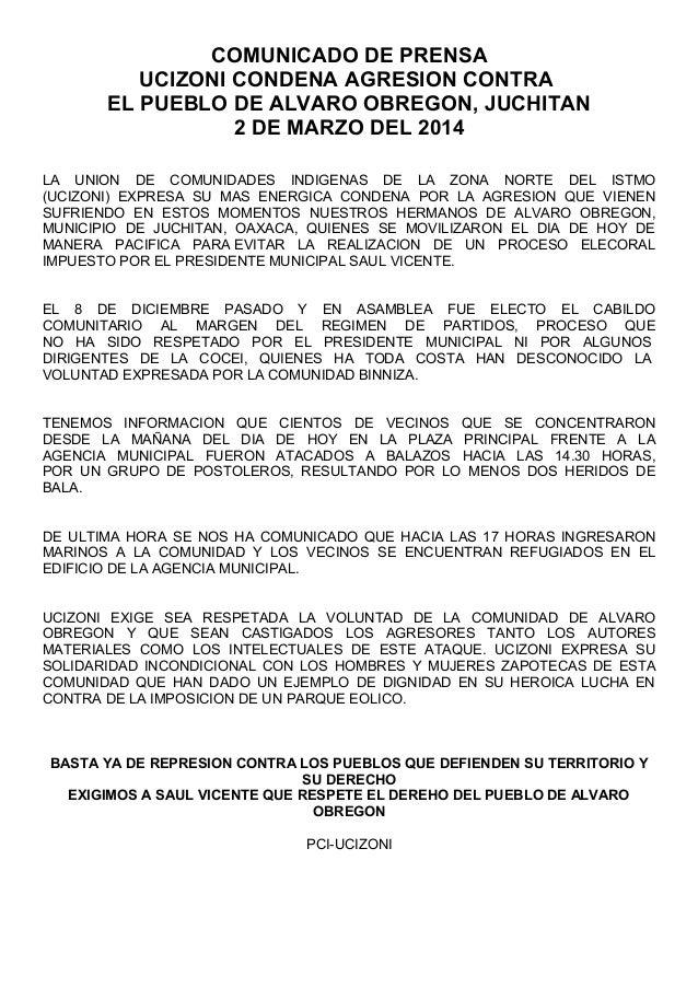 Comunicado de prensa UCIZONI condena agresión contra  el pueblo de alvaro obregon, juchitan 2 de marzo del 2014