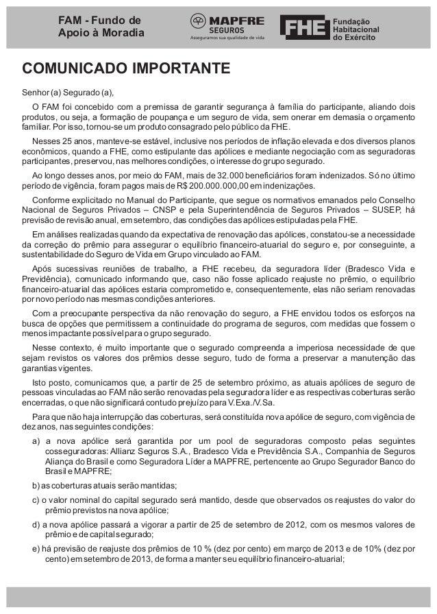 FAM - Fundo de         Apoio à MoradiaCOMUNICADO IMPORTANTESenhor (a) Segurado (a),   O FAM foi concebido com a premissa d...