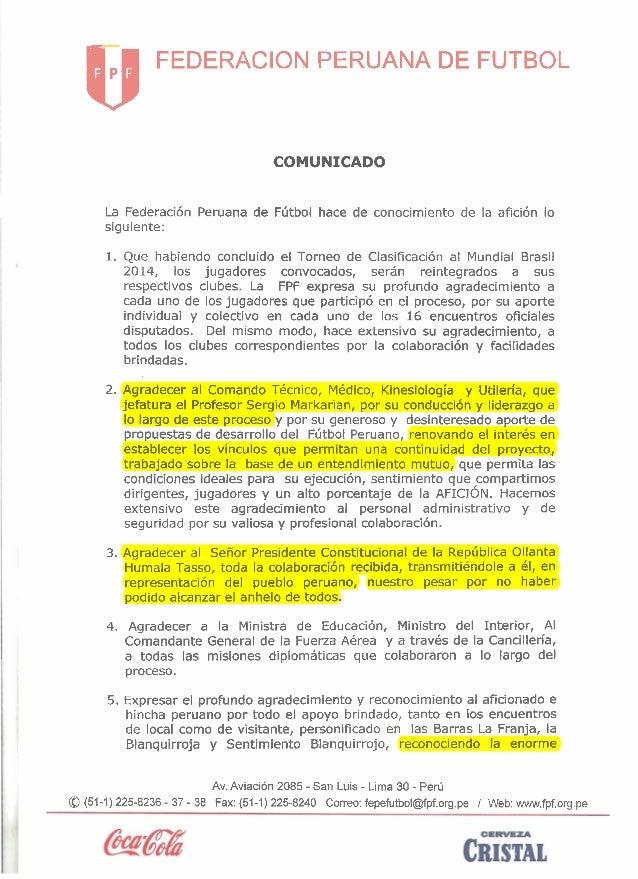 kJ  FEDERACION PERUANA DE FUTBOL  COMUNICADO La Federaci6n Peruana de Fhtbol hace de conocimiento de la afici6n lo siguien...