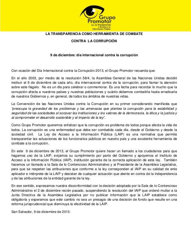 LA TRANSPARENCIA COMO HERRAMIENTA DE COMBATE CONTRA LA CORRUPCIÓN  9 de diciembre: día internacional contra la corrupción ...