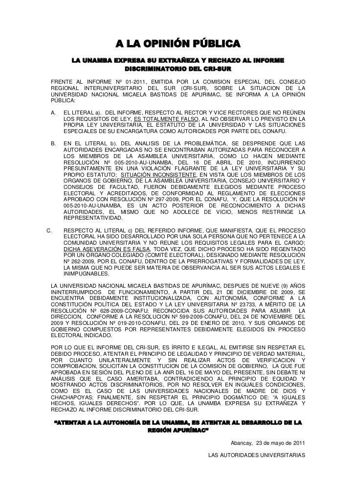 A LA OPINIÓN PÚBLICA         LA UNAMBA EXPRESA SU EXTRAÑEZA Y RECHAZO AL INFORME                     DISCRIMINATORIO DEL C...