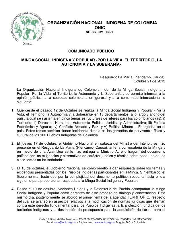 ORGANIZACIÓN NACIONAL INDIGENA DE COLOMBIA ONIC NIT.860.521.808-1  COMUNICADO PÚBLICO MINGA SOCIAL, INDÍGENA Y POPULAR -PO...