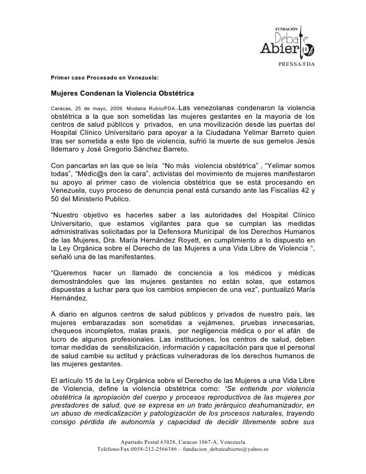 COMUNICADO MODAIRA RUBIO SOBRE LA VIOLENCIA OBSTETRICA EN VENEZUELA