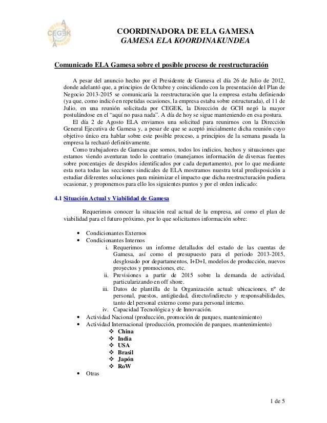 COORDINADORA DE ELA GAMESA                          GAMESA ELA KOORDINAKUNDEAComunicado ELA Gamesa sobre el posible proces...
