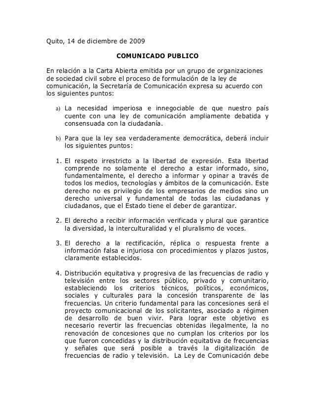 Quito, 14 de diciembre de 2009                      COMUNICADO PUBLICOEn relación a la Carta Abierta emitida por un grupo ...