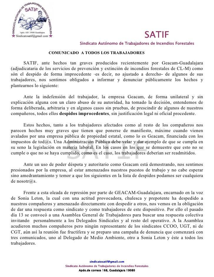 Comunicado Satif Despidos Improcedentes Oct09