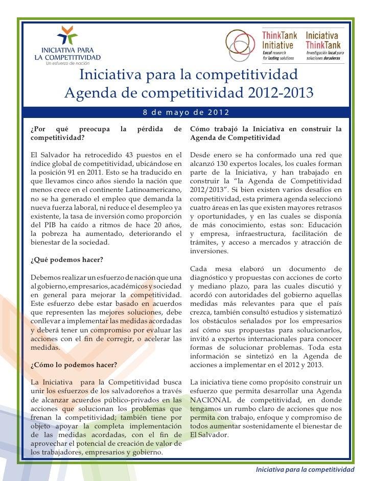 Iniciativa para la competitividad          Agenda de competitividad 2012-2013                                  8 de mayo d...