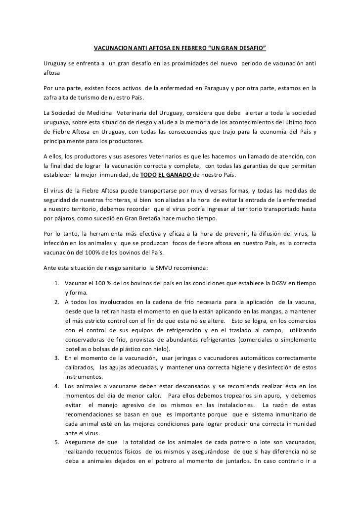 """VACUNACION ANTI AFTOSA EN FEBRERO """"UN GRAN DESAFIO""""Uruguay se enfrenta a un gran desafío en las proximidades del nuevo per..."""