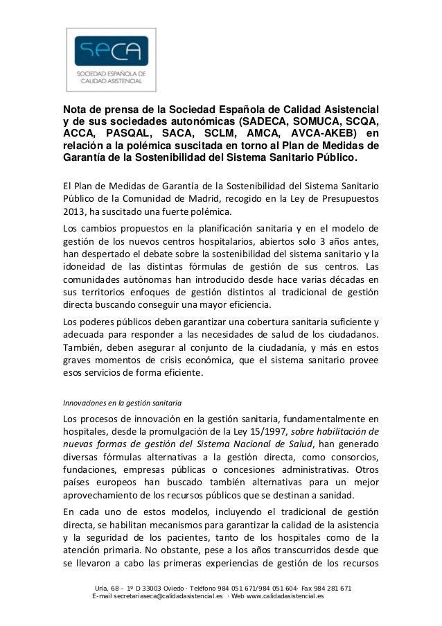 Nota de prensa de la Sociedad Española de Calidad Asistencialy de sus sociedades autonómicas (SADECA, SOMUCA, SCQA,ACCA,...