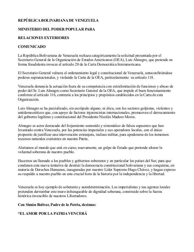 Comunicado Venezuela Contra Carta Democr Tica De La Oea