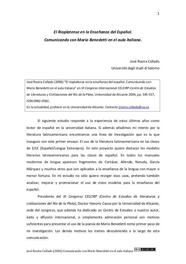 1 José Rovira Collado (2006) Comunicando con Mario Benedetti en el aula italiana El Rioplatense en la Enseñanza del Españo...