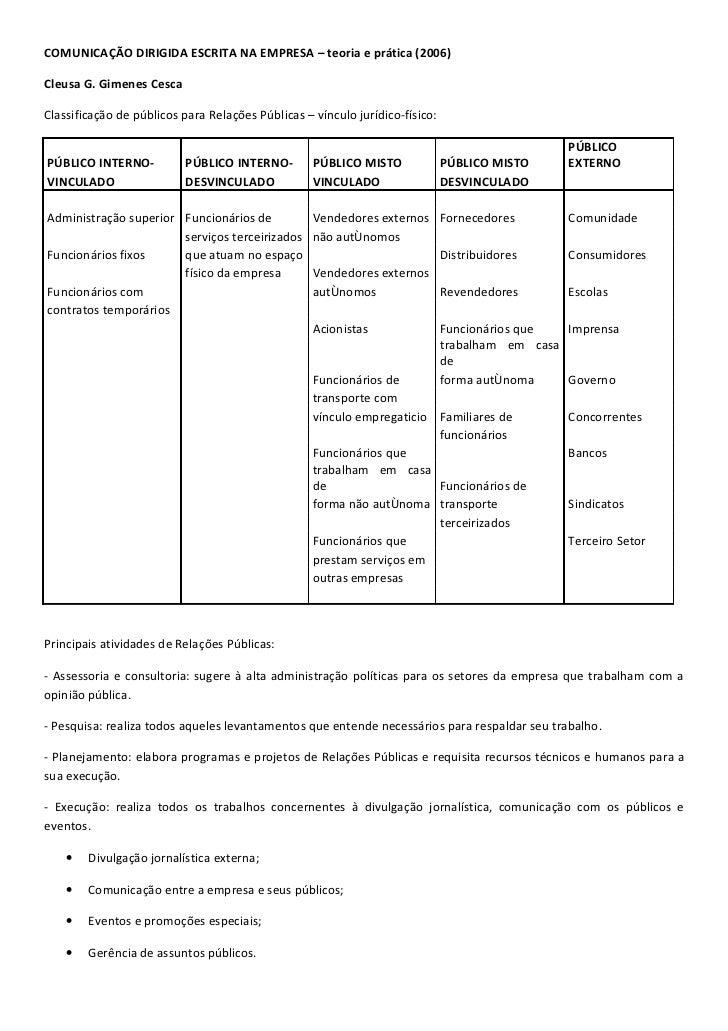 Teorias, técnicas e conceitos de Relações Públicas