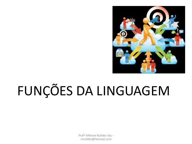 FUNÇÕES DA LINGUAGEM Profª Michele Rufatto Vaz - mrufatto@hotmail.com