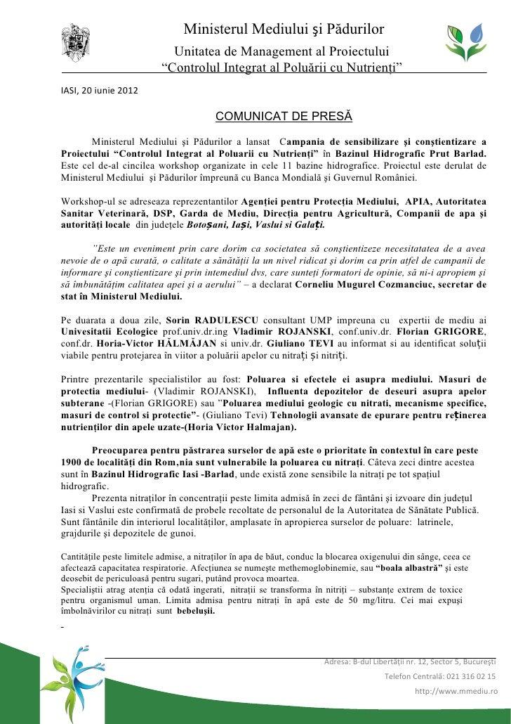 Ministerul Mediului şi Pădurilor                             Unitatea de Management al Proiectului                        ...