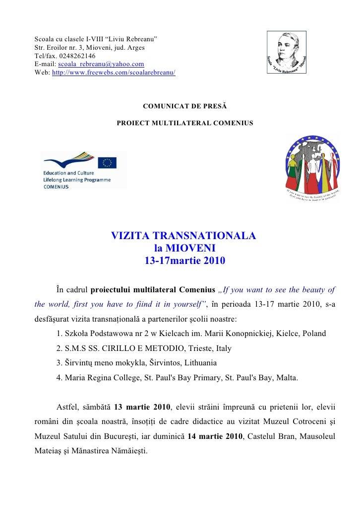 Comunicat De Presa Vizita Transnationala Proiect Comenius La Mioveni