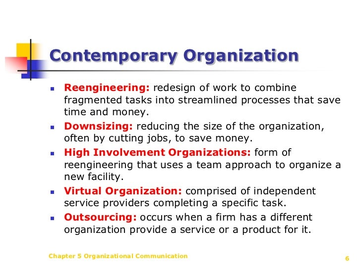 corporate communication in contemporary organizations Dysfunctional for contemporary business organizations that need to be change-oriented, he argues that just because a strong organizational culture is fairly stable does not mean that the organization will be resistant to change.