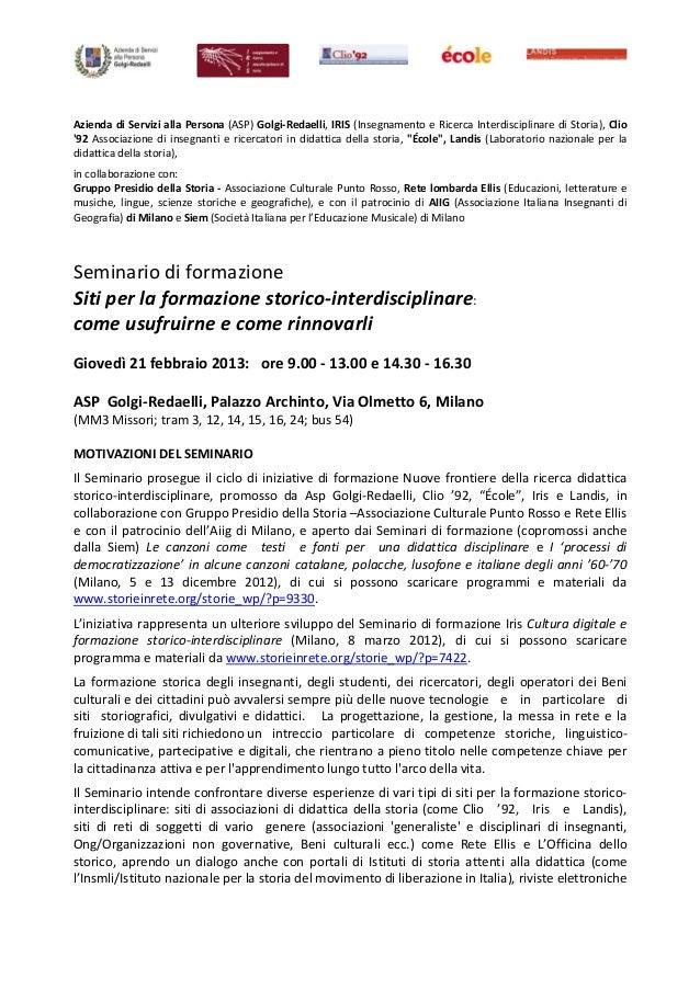 Azienda di Servizi alla Persona (ASP) Golgi‐Redaelli, IRIS (Insegnamento e Ricerca Interdisciplinare di Storia), Clio92 As...