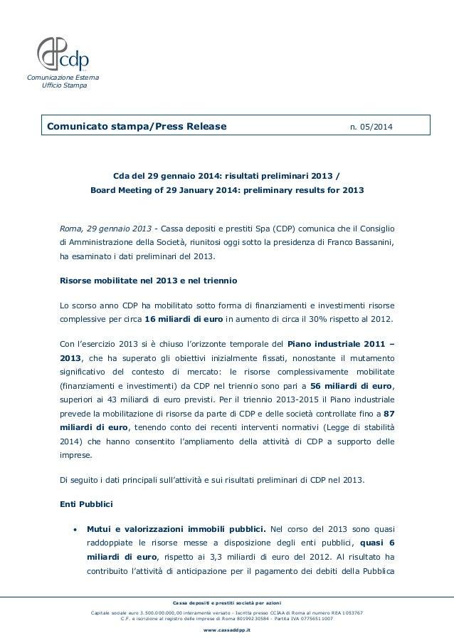 Cassa depositi e prestiti società per azioni Capitale sociale euro 3.500.000.000,00 interamente versato - Iscritta presso ...