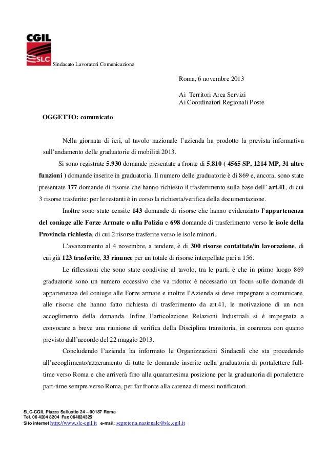 Sindacato Lavoratori Comunicazione  Roma, 6 novembre 2013 Ai Territori Area Servizi Ai Coordinatori Regionali Poste OGGETT...