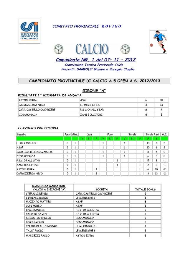 COMITATO PROVINCIALE R O V I G O                             Comunicato NR. 1 del 07– 11 – 2012                           ...