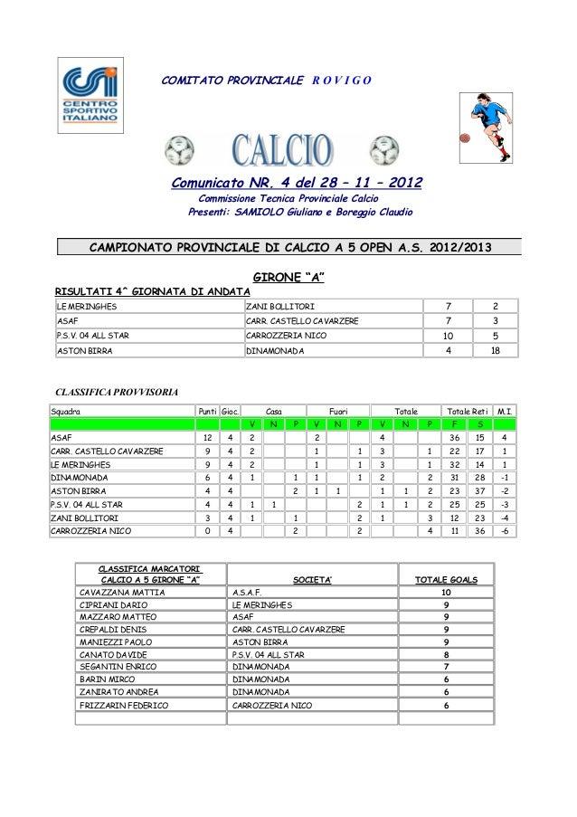 COMITATO PROVINCIALE R O V I G O                               Comunicato NR. 4 del 28 – 11 – 2012                        ...