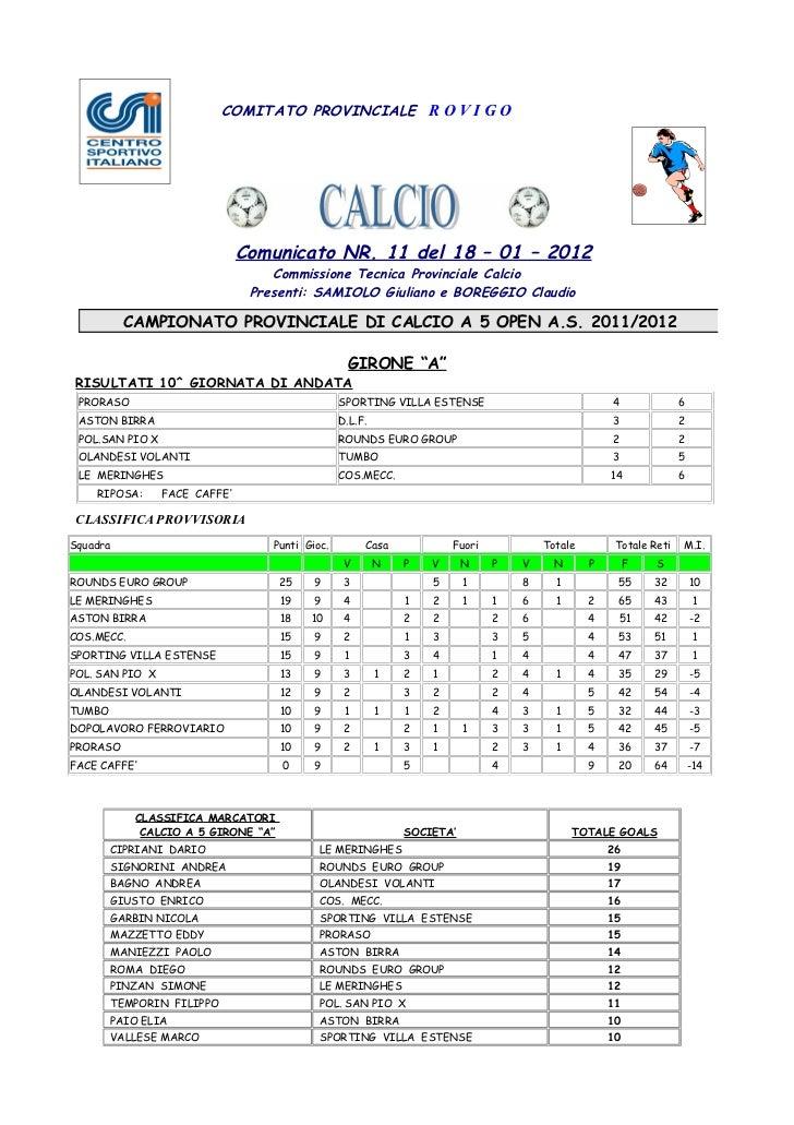 COMITATO PROVINCIALE R O V I G O                               Comunicato NR. 11 del 18 – 01 – 2012                       ...