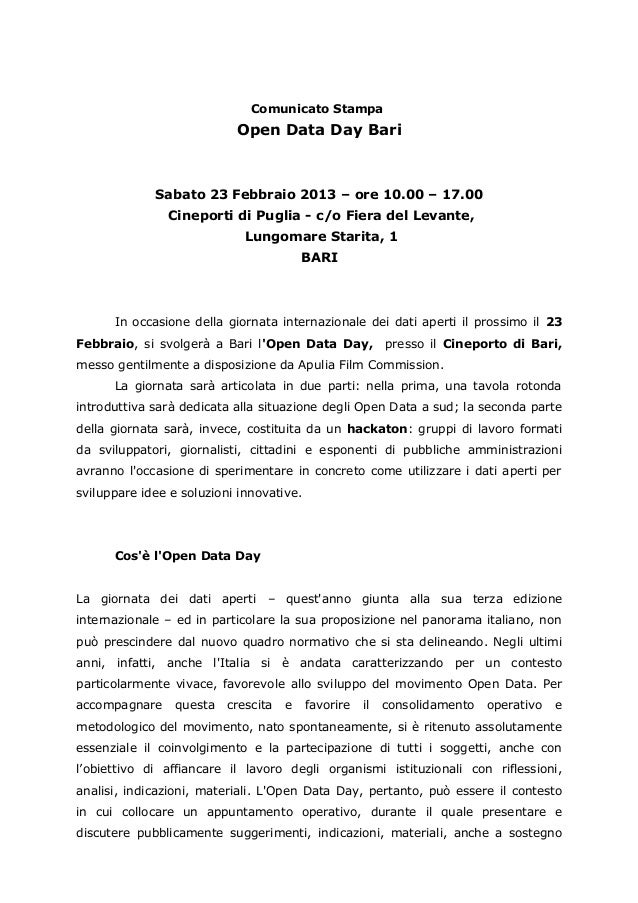 Comunicato Open Data Day 2013 - Bari
