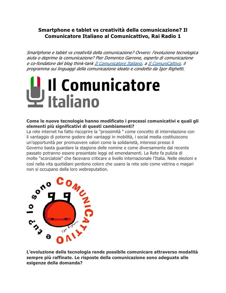 Il Comunicatore Italiano al Comunicattivo: Smartphone e tablet vs creatività della comunicazione?